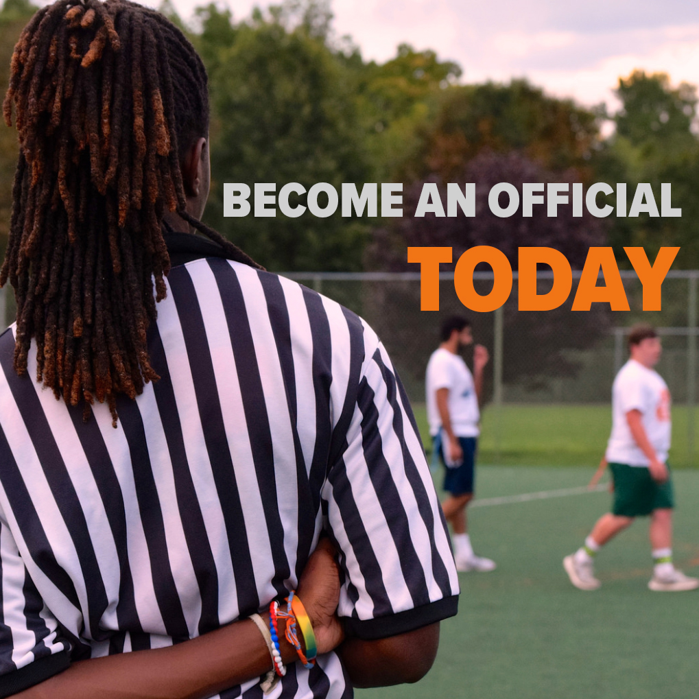 Advertisement for people interested in officiated intramural leagues