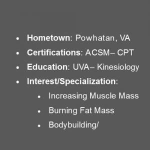 Conner Bowman personal trainer in charlottesville